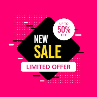 Promotional sale banner template design. new sale limited offer 50 percent off