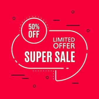 Promotional sale banner template design. super sale limited offer 50 percent off