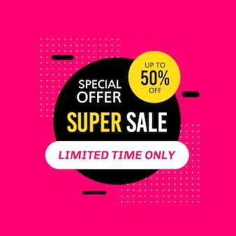 Promotional sale banner template design. super sale special offer limited time only 50 percent off