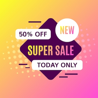 Promotional sale banner template design. super sale today only 50 percent off