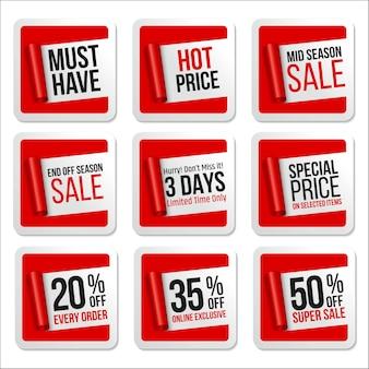 Рекламная распродажа наклейки коллекция свиток бумаги