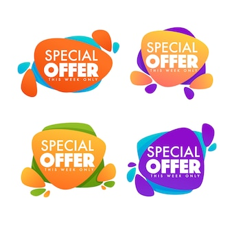 Promotional sale, vector collection of bright discount bubble banner