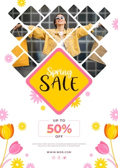 Promotional spring sale flyer template theme