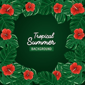 Promotional tropical summer background sale vector.