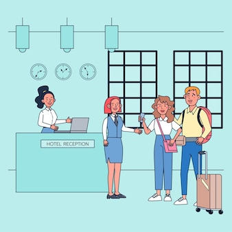 Promotions in the summer travel season stimulate the economy of tourism such as hotels and guesthouses. flat illustration