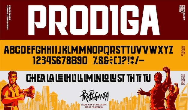 Propaganda alphabet letters font and number