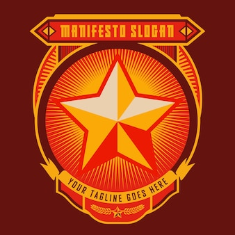 Propaganda badge red star
