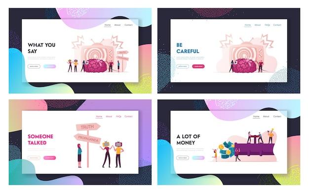 Propaganda, brainwashing and money flow landing page template set.