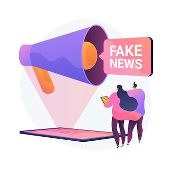メディアでの宣伝。ニュースの捏造、誤解を招く情報、事実の操作。誤った情報を与えられた人々、偽情報が広まった。詐欺ジャーナリズム。ベクトル分離概念比喩イラスト