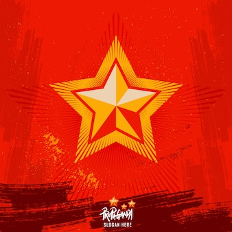Propaganda star. red vintage style wallpaper background