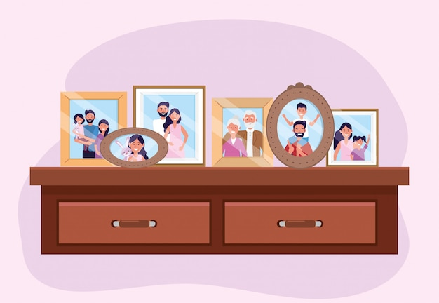 Propait with family pictures memories in the dresser