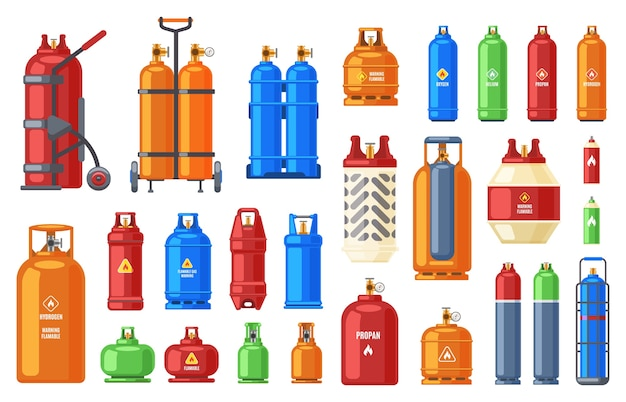 Propane butane metal containers illustration