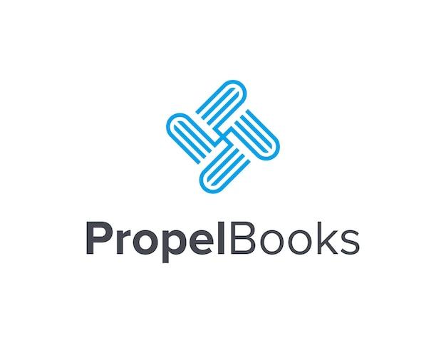 本のプロペラは、シンプルで洗練された創造的な幾何学的なモダンなロゴデザインの概要を説明します