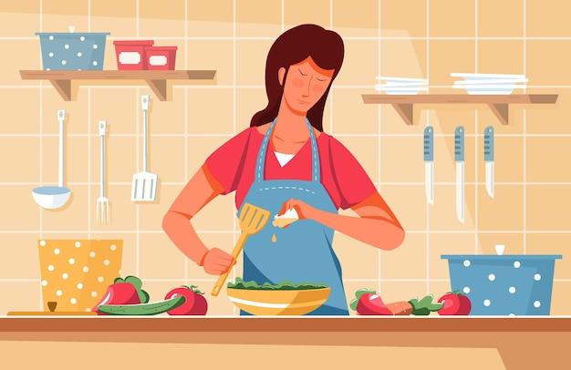 야채와 칼 일러스트와 함께 샐러드에 기름을 추가하는 부엌 풍경과 여자와 적절한 영양 평면 구성