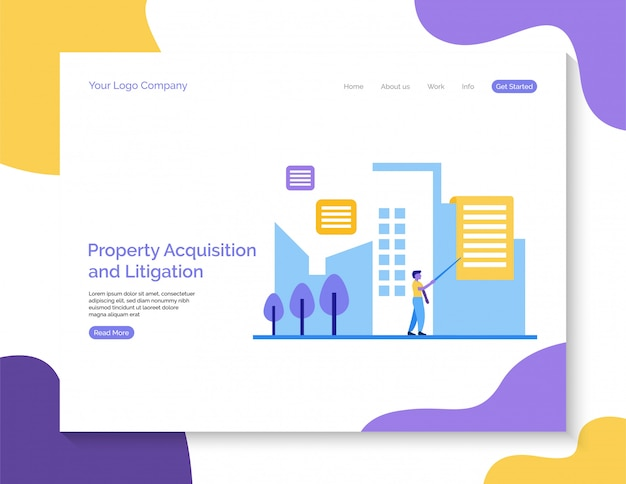 Property acquisition and litigation landing page background.