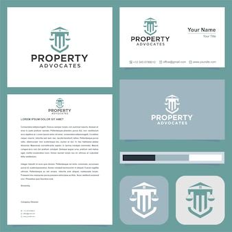 Логотип адвокатов собственности и визитная карточка