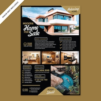 Property agent promotion print template with flat design style
