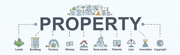 Property banner web icon for business and investment.