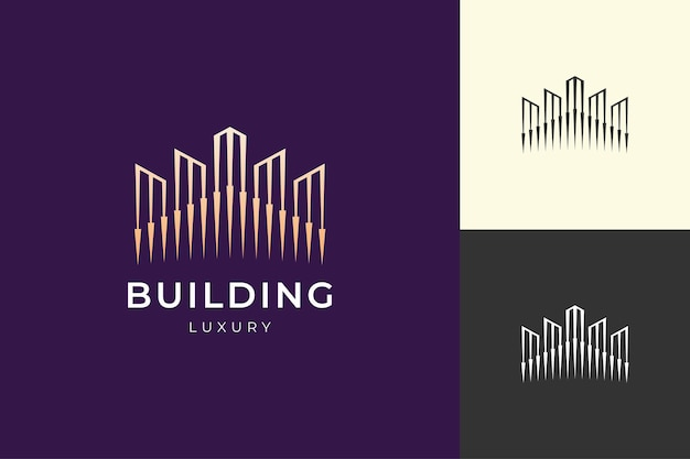 Property building or hotel logo in luxury gold color and futuristic