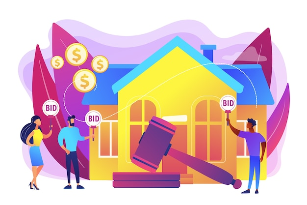 Property buying and selling. auction house, exclusive bids here, consecutive biddings processing, business that runs auctions concept. bright vibrant violet  isolated illustration