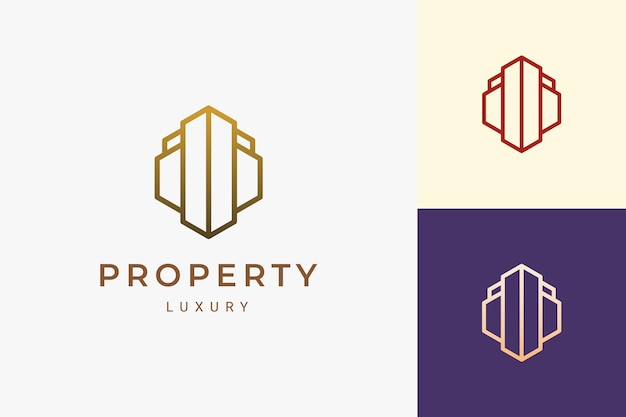 Property or hotel logo in simple line shape