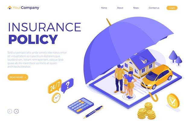 클립보드, 돈, 우산 및 계산기에 대한 보험 정책으로 광고하기 위한 재산, 집, 자동차, 가족 보험 아이소메트릭 개념. 방문 페이지 템플릿입니다. 고립 된 벡터 일러스트 레이 션