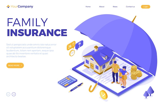 Property house family finance insurance isometric concept for poster web site advertising