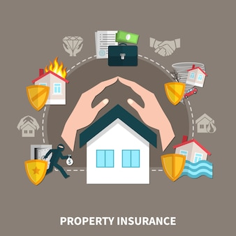 Property insurance against risks fire, theft, natural disasters composition