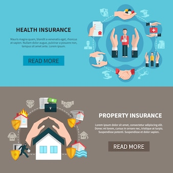 Property insurance and health insurance banners