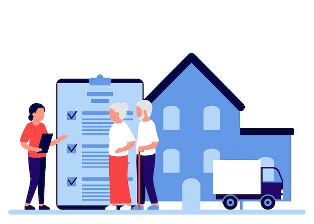 不動産保険の人々の高齢者の退職証に署名する鑑定不動産
