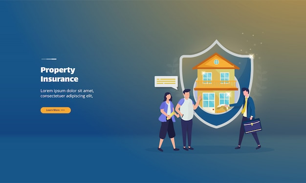 Property insurance policy on illustration concept