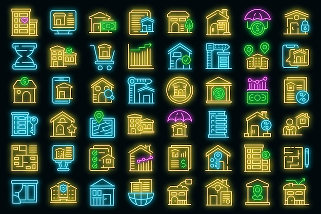 Property investments icons set. outline set of property investments vector icons neon color on black