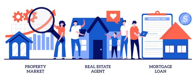 Property market, real estate agent, mortgage loan. set of buying property, new apartment