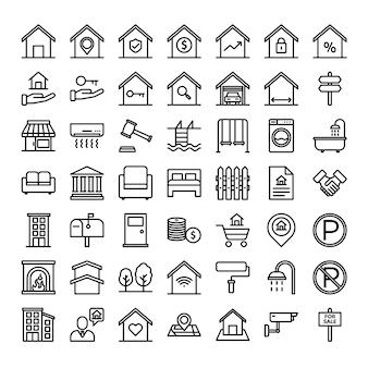 Property outline icon set