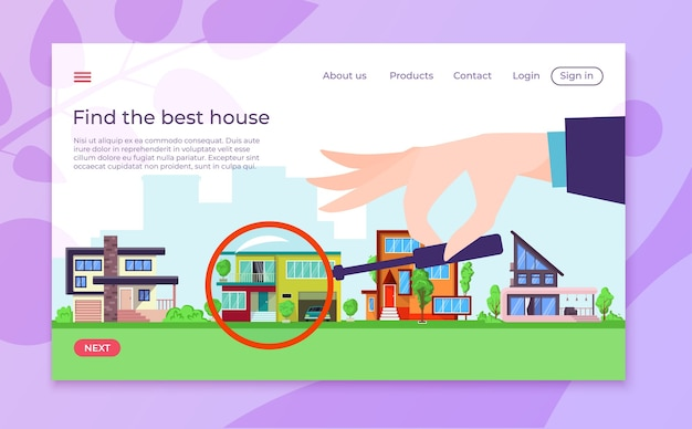 Property and real estate choosing landing page