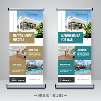 Property real estate roll up or x banner template