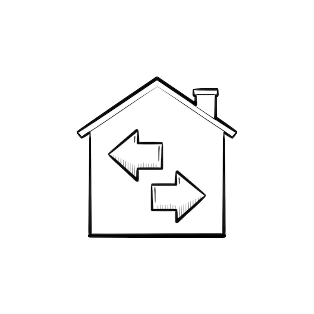 プロパティの再販手描きのアウトライン落書きアイコン。矢印のある家。不動産、販売、転売、住居のコンセプト