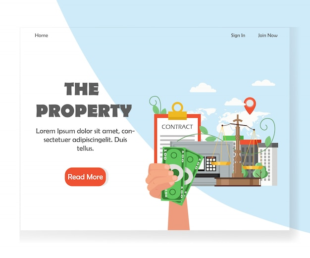 Property website landing page design template