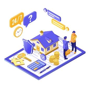 Страхование имущества со страховкой, рукопожатие дома и людей