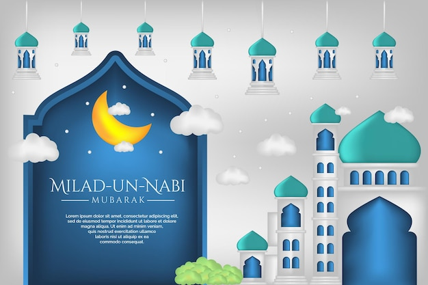 Prophet's birth month banner with mosque illustration background