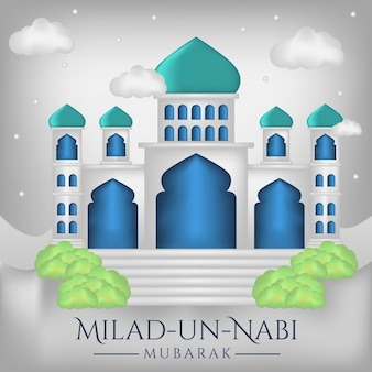 Prophet's birth month banner with mosque illustration background Premium Vector