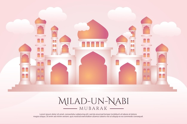 Prophets birth month banner with mosque illustration background