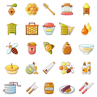 Propolis honey jelly icons set