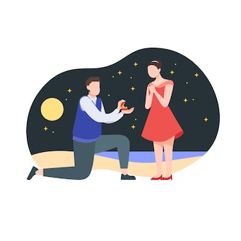 Proposal on a beach at starry night