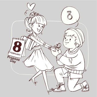 Propose day line art super cute love cheerful romantic valentine couple dating gift hand drawn outline illustration