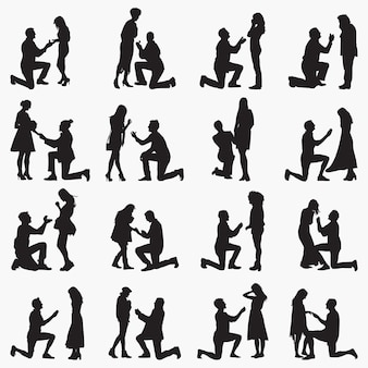 Proposing couples silhouettes