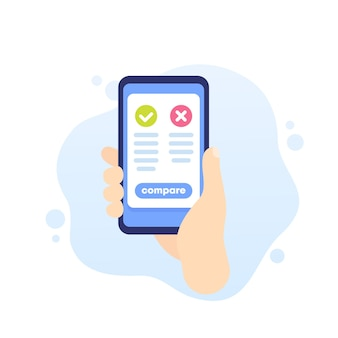 Pros and cons mobile app, phone in hand