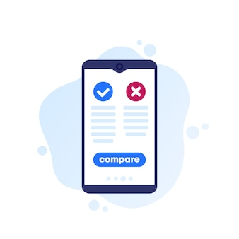 Pros and cons mobile app, vector icon for web