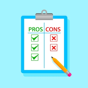Pros and cons tablet with pencil. vector illustration