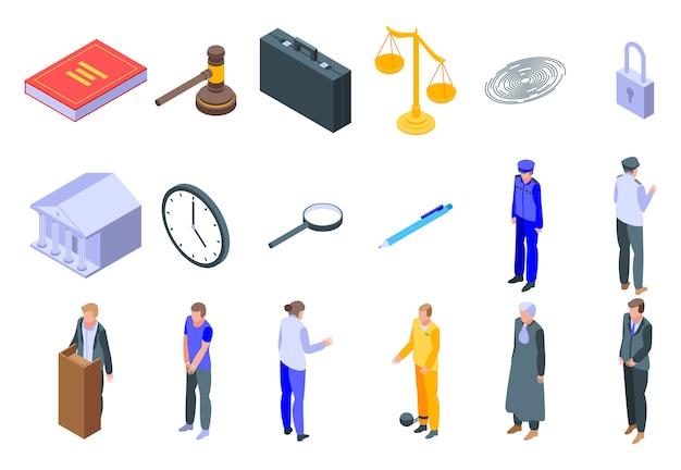 Prosecutor icons set, isometric style